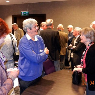 Another general group, Thelma Fitzgerald and brother Martin, talking to Helen Clews