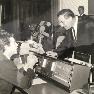 James Callahan, before he became PM and Roy Farrant at the console and Keith Kent at the printer