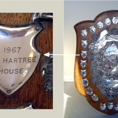 The Lyons Departmental Level Cricket Shield . The first entry is for the 1921 winners, Accounting, and the last entry for 1967  - winners LEO Hartree House